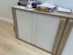 Roller Fronted Sideboard Unit w/ Light Wood Effect | 97 x 55 x 75cm