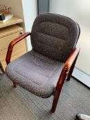 3 x Wooden Frame Chairs w/ Grey Upholstery Pattern