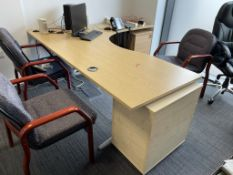 Wooden Office Desk w/ Light Wood Effect | 220 x 200cm | CONTENTS NOT INCLUDED