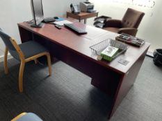 Wooden Double Pedestal Office Desk w/ Dark Wood Effect | 90 x 180 x 72cm | CONTENTS NOT INCLUDED