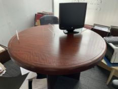 Circular Wooden Office Desk w/ Dark Wood Effect | 130 x 74cm | CONTENTS NOT INCLUDED
