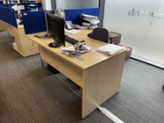 Curved Workdesk w/ Light Wood Effect, Pedestal & Cloth Partition