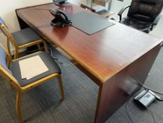 Selection of Dark Wooden Effect Office Furniture as per description | Includes, Desk, Sideboard & Gl