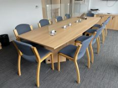 2 Section Bow Shaped Light Wood Effect Meeting Room Table | 320 x 120cm