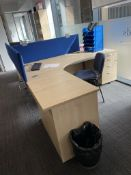 2 x (R & L) Curved Workdesks w/ Light Wood Effect, Pedestals, Bookcase & Cloth Partitions