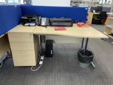 Curved Workdesk w/ Light Wood Effect, Pedestal & Cloth Partition | CONTENTS NOT INCLUDED