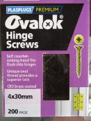 100 x Brand New Ovalok Hinge Screws | 200 per pk