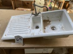 White 1½ sink top with mixer tap