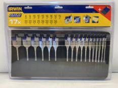 6 x Irwin 17 Piece Flat Spade Drill Bit Set | 6mm to 38mm | Total RRP £150
