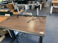 Vehyl gas spring operated sit to stand desk with dual monitor arms, comms & power module