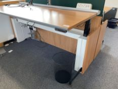 Single SBFI Aspect electric powered sit to stand desk with dual arm monitor arms, power module