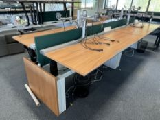 4 station SBFI Aspect electric powered sit to stand desk bench with dual arm monitor arms, power mod