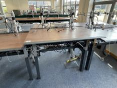 2 Station Vehyl back to back gas spring operated sit to stand desk with dual monitor arms, comms & p