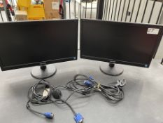 "2 x Philips 203V5L 19.5"" LCD Computer Monitors w/ Stand, Power & VGA Cables"