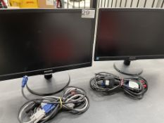 "2 x Philips 193V5L 18.5"" LED Computer Monitors w/ Stand, Power & VGA Cables"