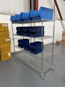 Stainless Steel 4 Tier Mobile Rack w/ 15 x Plastic Drawer Containers | 185cm x 175cm x 60cm