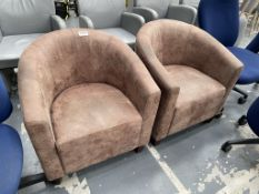 2 x Faux Leather Tub Chairs in Brown