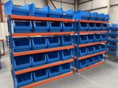 2 x Bays of Bigdug 5 Tier Light Duty Racking w/ 40 x Plastic Drawer Containers   180cm x 180cm x 60c