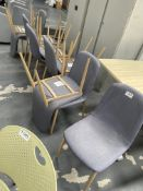 11 x Grey Fabric Chairs w/ Wooden Frame