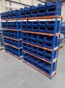 2 x Bays of Bigdug 5 Tier Light Duty Racking w/ 100 x Plastic Drawer Containers   162cm x 123cm x 32