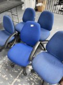 5 x Adjustable Blue Fabric Mobile Office Chairs