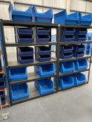 2 x Bays of 5 Tier Light Duty Racking in Black w/ 36 x Plastic Drawer Containers   122cm x 183cm x 4