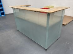 Wooden Reception Desk/Counter w/ Piracy Glass Panels