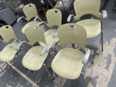 6 x Green Plastic Chairs