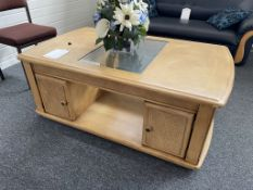 Wooden Coffee Table w/ Glass Centre & 2 x Storage Crates