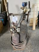 Twin Bottle Oxygen/Acetylene Gas Bottle Trolley w/ Regulators