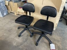 2 x Faux Leather Mobile Adjustable Chairs in Black