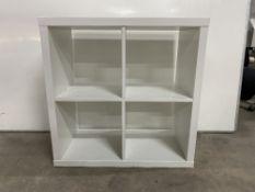2 x White Ikea Kallax 4 Section Storage Units