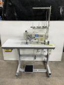 Tysew TY-1160K-1 Twin Needle Lockstitch Straight Stitch Industrial Sewing Machine w/ Stand & Table