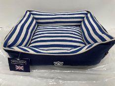 Hugo & Hudson S Striped Pattern Canvas Pet Bed - Blue/Cream - RRP£39.99