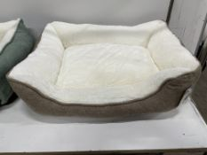 28 x Linen Square M Pet Beds - Brown - RRP£279 - RETAILER LABEL TO BE REMOVED