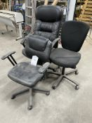 3 x Various Black Faux Leather/Fabric Office Chairs