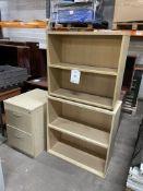 2 x Light Wood Effect 2 Tier Bookshelves & 2 Drawer Pedestal Unit