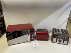 3 x Pieces of Red Domestic Kitchen Applicances as per pictures