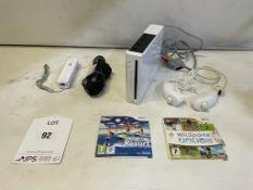 Nintendo Wii Games Console w/ Remote, Nunchuks & 2 x Games