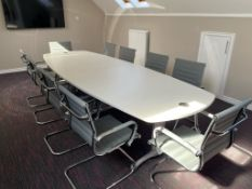 Wooden Executive Boardroom Table w/ 10 x Grey Faux Leather Chairs | 340cm x 120cm