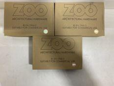 3 x Zoo Hardware - ZAA012SA 19mm Return to Door Lever on Latch Backplate