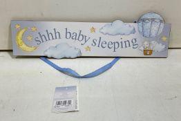 11 x Handing Door Sign | 'Shhh Baby Sleeping' | Blue