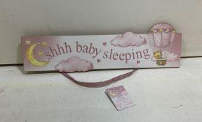 12 x Handing Door Sign | 'Shhh Baby Sleeping' | Pink