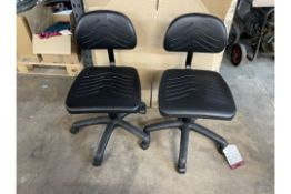 8 x Faux Leather Mobile Adjustable Chairs in Black