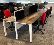 6 Station Desk w/Privacy Screen   Overall L: 420cm x W: 124cm
