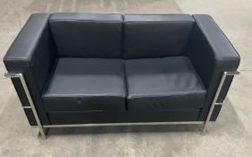 3 Piece Faux Leather Square Back Suite   Black w/Chrome Frame