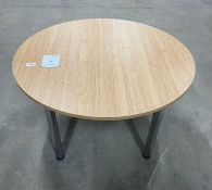 Circular Beech Effect Table w/4 Polished Chrome Legs   D: 120cm