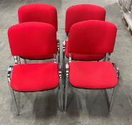 4 x Meeting Room Chairs w/Polished Chrome Legs