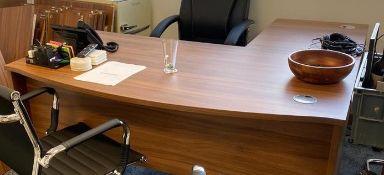 Dark Wood Effect Executive L-Shaped Desk   Main Desk: 160cm x 80cm