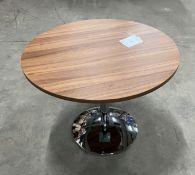 Circular Dark Wood Effect Table w/Polished Chrome Pedestal